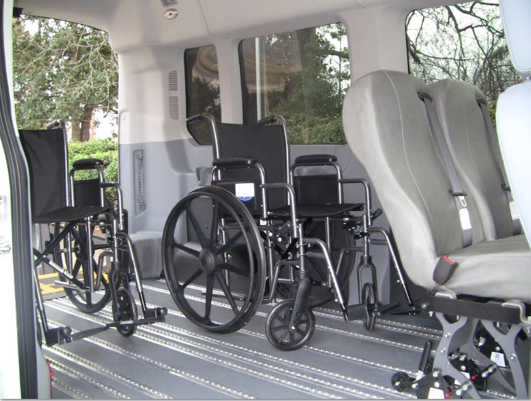 SmartFloor Wheelchair Van Interior With 2 Wheelchairs