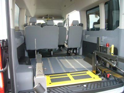 Transit short floor, OEM seats, REAR lift deployed 1