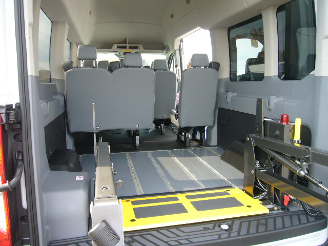 Transit short floor, OEM seats, REAR lift deployed 1